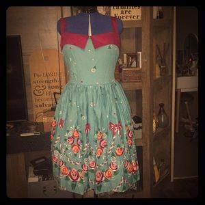 NWT LINDY BOP RARE TEAL AND PURPLE FLOWER DRESS